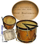 Click to view larger image of extra nice original 'Boys' – Civil War pattern SNARE DRUM & STICKS (Image2)