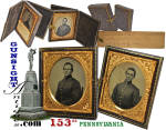 Click here to enlarge image and see more about item 63104: 2 double cased 6th plate tintypes - 153rd Penn. Inf. - Knecht Brothers – both wounded at Gettysburg