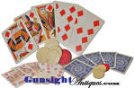 Click here to enlarge image and see more about item 63191: original 19th century King High Straight Flush & Bone Poker Chips -  DISPLAY HAND