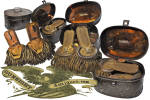 Best described here by our photo illustrations, this well aged and period used set of Civil War <I>Full Bird</I> Colonel epaulettes come in their equally well aged and period used <I>japanned</I> sheet iron box. Untouched and as found with that <I>if only they could speak</I> appeal, we acquired this pair some years ago as a result of a Bangor, Maine attic clean out of what was once the  home of <B>Bvt. Brig. General Charles Wentworth Roberts</B> who served in the Civil War in the hard fought <B>2nd Maine Infantry </B> as Lt. Colonel from May 2nd 1861 to August 29 1861 when he took command of the 2nd Maine as its Colonel.  Resigning his commission due to ill health on January 10, 1863 , Col. Roberts later received a brevet to Brigadier General of Volunteers for his May 1862 action at Hanover Court House, Virginia.  While there is no <I>deep dish</I> provenance beyond the knowledge that the, though not fine but esthetically pleasing, pair came out of Robert's classic circa 1880s home at 186 State Street, that history will be meaningful to the Civil War history enthusiast and is worth preserving here.  (The home is still standing by the way and in this modern day of the internet may be viewed by googling the address.)  Representative of the  most difficult and sought after grade of Civil War vintage epaulettes, this boxed pair is not for the collector of fine condition, un-used insignia but with all considered is worthy of an appreciative home. <B>Buy with confidence! </B><I>  We are pleased to offer a <B><U>no questions asked</U> three day inspection with return as purchased on direct sales!</B> <I>Just send us a courtesy  e-mail to let us know your item will be returned per these provisions and your purchase price will be refunded accordingly.</I>  <FONT COLOR=#0000FF>Thanks for visiting Gunsight Antiques! </FONT COLOR=#0000FF>