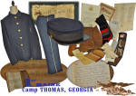 This desirable grouping is of Spanish American War veteran <U>Pvt. Ernest M. Swett</U> of Co. D, <B>1st Maine Volunteer Infantry</B>.  The group consists of the following military issue and personal items:  Pvt. Swett's uniform <B>CAP</B>, 5 button <B>SACK COAT</B>, issue <B>TROUSERS</B>, issue <B>LEGGINGS</B> and his issue <B>DRESS GLOVES</B>.   Swett's personal items include: his service period <B>Journal</B>, knit wool <B>Socks</B>, shaving <B>Mirror</B>, lab / <B>Scalpel Kit</B>, period <B>map of Cuba</B>, his <B>Presidential Service Certificate</B>, family <B>Bible Registry Pages</B> and news clippings to include a mustering in roster of Swett's Co. D, an account of mustering out and other miscellaneous related paper.  