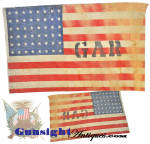 Dating from the later heyday of the Grand Army of the Republic,  this well aged but solid old 48 star GAR flag is printed in the traditional old style on coarse cotton gauze and measures a nicely displayable, 18 X 10 1/2 inches.   Recovered from a defunct G A R Civil War veteran hall some years ago and set it aside for its eye appeal and charm of the early printed construction and weather beaten appearance. (After about 1913 these memorial and parade flags can be expected to be printed on cotton of a much tighter weave.)    <B>Don't forget to give our search feature a try</B> for special wants. A simple <B>key word</B> in lower case works best. Thanks for visiting Gunsight Antiques !