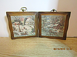 Vintage Currier & Ives Home & Homestead Wall Hangings