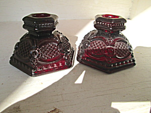 Vintage Avon Cape Cod Ruby Red Short Candle Holders