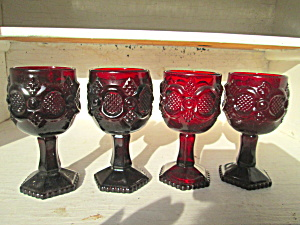 Vintage Avon Cape Cod Ruby Red Wine Glass Set