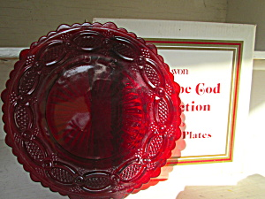 Vintage Avon Cape Cod Ruby Red Dessert Plate Set