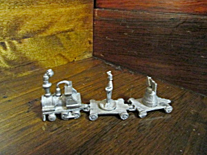 Vintage Pewter Fort Liberty Miniture Train Set