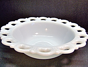 Ahchor Hoching Milk Glass Lace Edge Round Bowl