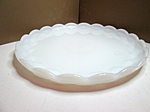 Vintage Milk Glass Anchor Hocking Cake Plate
