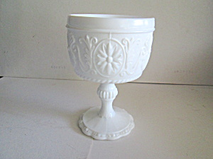 Vintage Milk Glass Sandwich Tall Pedestal Compote