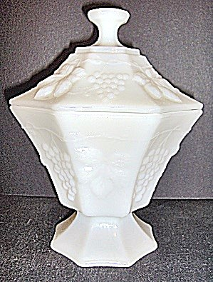 Anchor Hocking Milk Glass Footed Panel Candy Dish