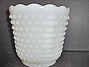Vintage Hobnail Flower Pot Milk Glass By Anchor Hoching