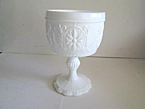 Vintage Milk Glass Sandwich  Tall Pedestal Compote (Image1)