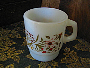 White Wildflower Anchor Hocking Coffee Mugs