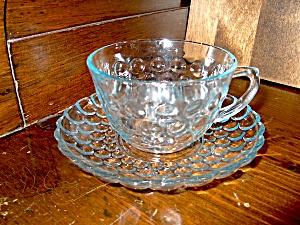 Vintage Sapphire Blue Bubble Glass Cup/saucer Set