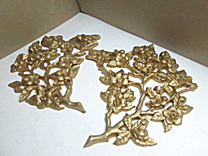 Vintage Burwood Gold Floral Spray Wall Hanging