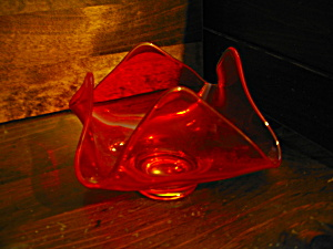 Vintage Orange Viking Epic Art Glass Candy Bowl
