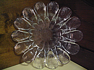 Heavy Clear Crinkle Like Glass Petal Shaped Dish