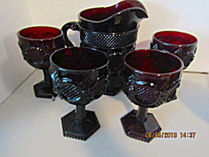 Vintage Avon Cape Cod Ruby Red Pitcher& Glass Set