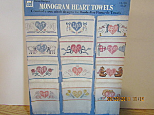 Banar Designs Cross Stitch Monogram Heart Towels #105