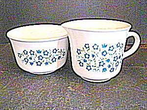 Corelle Blue Heather Sugar Bowl & Creamer Set