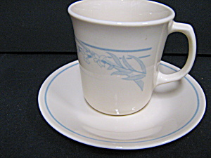 Coffee Cup & Saucer Blue Lily Corelle