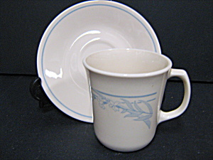 Corelle Larger Coffee Mug & Saucer Blue Lily