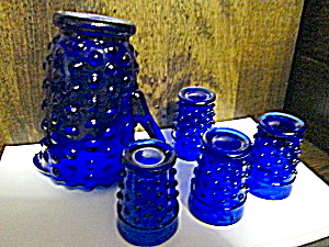 Miniture Cobalt Blue Color Hobnail Pitcher Set