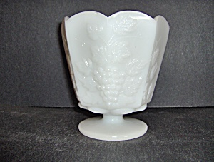 Brody Milk Glass Footed Flower Pot Grape & Leaf