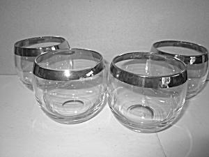 Vintage Silver Rim Roly Poly Whiskey Glasses