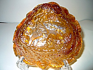 Vintage Carnival Glass Amber Candy Dish