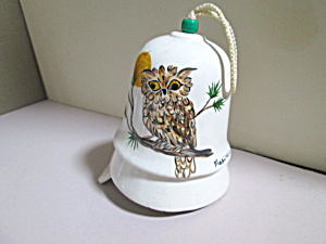 Vintage Maxine Hand Painted Owl Bell Wind Chime