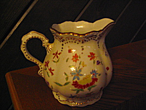 Vintage Flowered Gold Doted Trim Pitcher