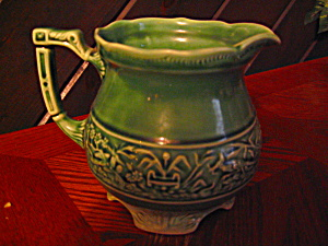 Vintage 1 Quart Green Footed Pottery Pitcher