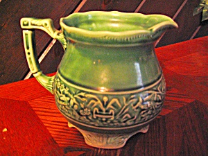Vintage 1 Quart Green Footed  Pottery Pitcher (Image1)