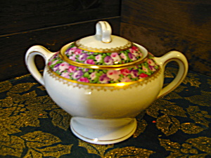 Kpm Purple/pink Rose Covered Sugar Bowl
