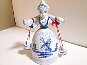 Vintage Dutch Holland Delft Blue Water Girl Bell