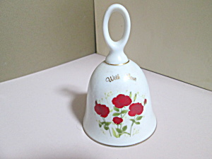 Vintage Porcelain Red Floral With Love Bell