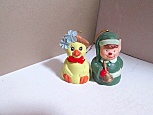 Vintage Bells&bows Duck & Boy Elf Bell Ringer