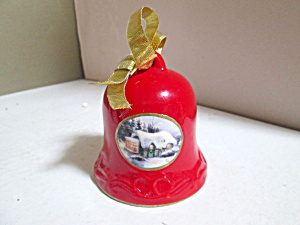 Holiday Thomas Kinkade Red Porcelain Bell