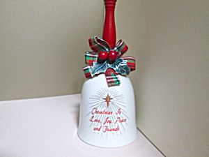 Vintage Holiday Porcelain Bell With Red Wood Handle