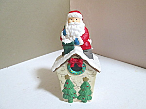 Holiday Santa On House Porcelain Bell