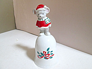 Holiday Mouse On Porcelain Holly Like Bell