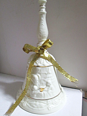 Holiday Ivory Embossed Porcelain Bell