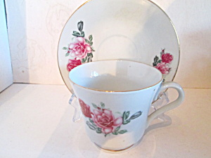 Vintage Pink Rose Bone China Cup & Saucer Set