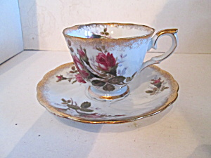 China Moss Rose Pattern Cup & Saucer Set