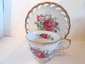 Vintage Floral Rose Pattern China Cup & Saucer Set