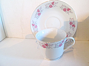 China Pink Floral Design Cup & Saucer Set
