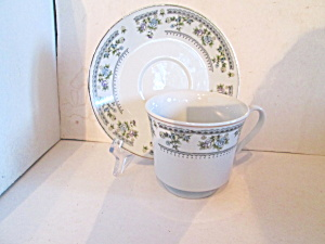 Ftd Antique Blue Purple Floral Boarder Cup & Saucer Set