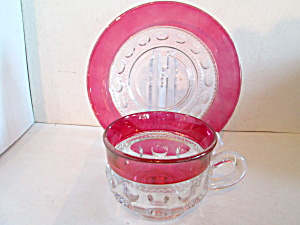 Vintage Kings Crown Thumpprint Ruby Cup & Saucer Set